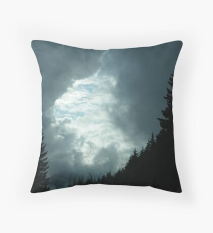 As evening and the storm came into North Bend, Washington Throw Pillow