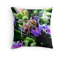 Bee on Buddleja Throw Pillow