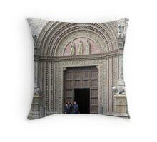 Main entrance to the Palazzo dei Priori, Centro Storico, Perugia, Italy Throw Pillow