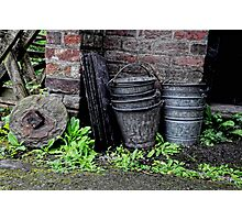 A Pile of Buckets. Photographic Print