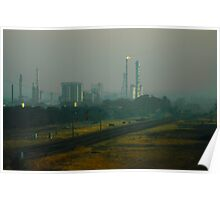 Shell Oil Refinery in Smoke Poster