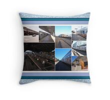 Railway  Stations and trains Throw Pillow