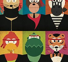Animal's Gangsta - Lion, Bear, Zebra, Rooster, Alligator & Tiger by Ellair