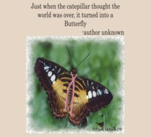 Butterfly with Breast Cancer Ribbon Tee by Pam Moore