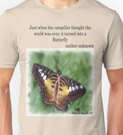 Butterfly with Breast Cancer Ribbon Tee T-Shirt