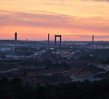 Sunset over the Gothenburg Harbour by HELUA