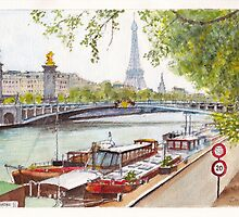 Seine Barges by Dai Wynn