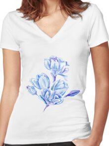 Blue Watercolor Tulip Pattern Women's Fitted V-Neck T-Shirt