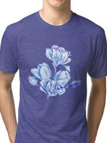 Blue Watercolor Tulip Pattern Tri-blend T-Shirt