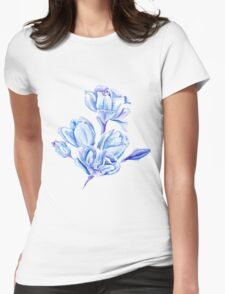Blue Watercolor Tulip Pattern Womens Fitted T-Shirt