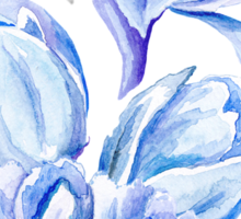 Blue Watercolor Tulip Pattern Sticker