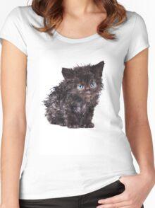 Black wet kitten Women's Fitted Scoop T-Shirt