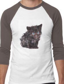Black wet kitten Men's Baseball ¾ T-Shirt