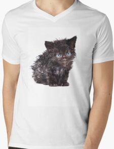 Black wet kitten Mens V-Neck T-Shirt