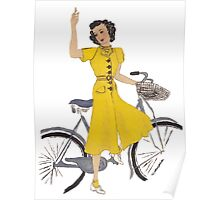 Vintage Fashion and bike Poster
