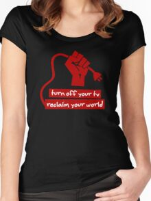 Turn Off Your TV (Red) Women's Fitted Scoop T-Shirt