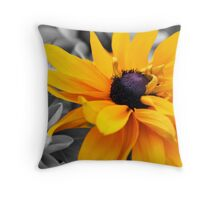 Yellow On Black & White Throw Pillow