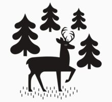 Deer In The Forest Pattern One Piece - Long Sleeve