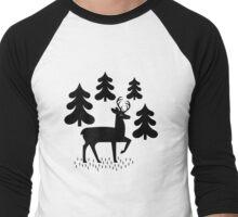 Deer In The Forest Pattern Men's Baseball ¾ T-Shirt