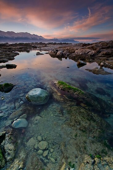 Rock pool dusk blush by KensKaikoura