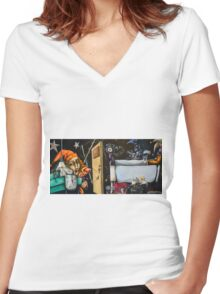 Beware of The Joker's Tricky Cajoleries and his Wheedling Ways Women's Fitted V-Neck T-Shirt
