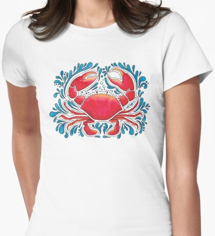 Red Crab  Womens Fitted T-Shirt