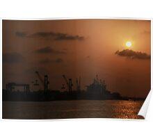 Shipyard silhouette Poster