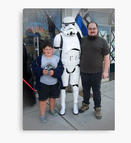 Meeting A Starwars Storm Trooper Canvas Print