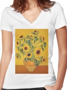'A Brush with Vincent'.  Women's Fitted V-Neck T-Shirt