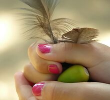 Girls treasures... Peacock feathers and acorn... by Nuh Sarche