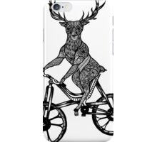 Funny Deer Aztec on a Bicycle  iPhone Case/Skin