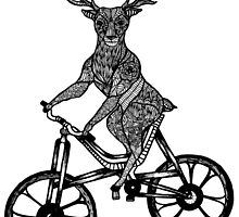 Funny Deer Aztec on a Bicycle  by toshibung