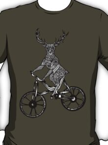 Funny Deer Aztec on a Bicycle  T-Shirt