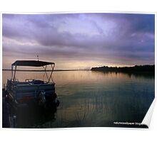Pontoon Boat Sunrise Poster