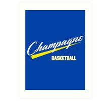 Champagne Basket 1 Blue Art Print