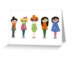 Hipster girl fashion set Greeting Card