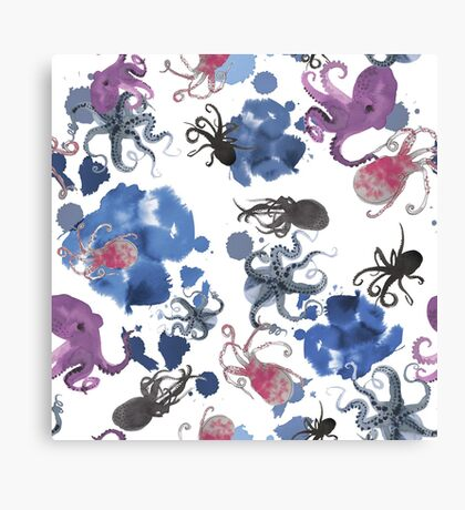 Octopus in blue ink Canvas Print