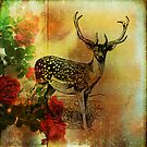 Deer and Wild Roses by wolfandbird