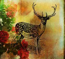 Deer and Wild Roses by wolfandbird