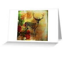 Deer and Wild Roses Greeting Card