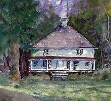 Backwoods Cottage - Watercolor Impressionistic Landscape by Barry  Jones