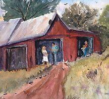 Hillside Talk - Rural Barn - Landscape by Barry  Jones