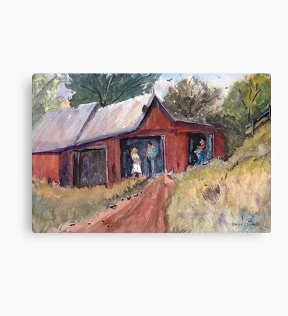 Hillside Talk - Rural Barn - Landscape Canvas Print