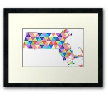 Massachusetts Colorful Hipster Geometric Triangles Boston Framed Print