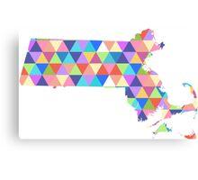Massachusetts Colorful Hipster Geometric Triangles Boston Canvas Print