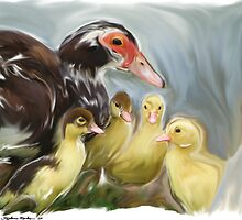 Mother Duck and Ducklings by Stephanie A Marks