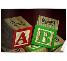 Wooden Alphabet Blocks  Poster