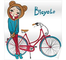 girl with bicycle Poster