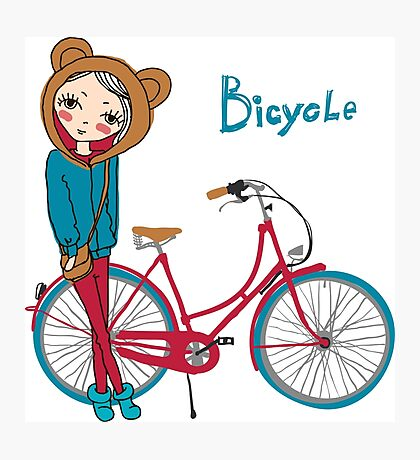 girl with bicycle Photographic Print
