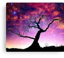 Nature Galaxy Nebula Tree Canvas Print